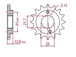 Звезда ведущая DRC 520-14 Honda XR650; Kawasaki ZX-6R D331-529-14 (JTF1307)
