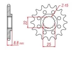 Звезда ведущая DRC 520-14 KTM/Husqvarna D331-537-14L (JTF1901)