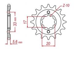 Звезда ведущая DRC 520-13 Kawasaki KX250F; Suzuki RMZ250 D331-520-13 (JTF430)