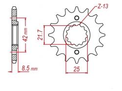 Звезда ведущая DRC 520-14 Kawasaki KL/KLX/KLR; Suzuki GS D331-532-14 (JTF516)
