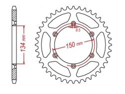 Звезда ведомая DRC 520 Kawasaki KX/KLX/KDX; Suzuki RMZ250 D34-24-0.. (JTR460)